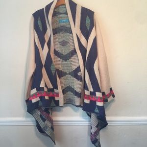 buttons {anthro} Geometric Print Open Front Cardi